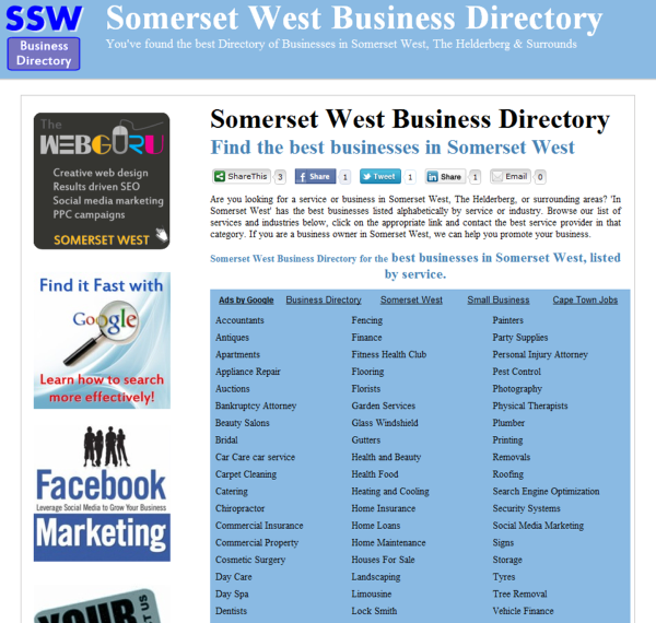 Somerset West Business Directory - South Africa